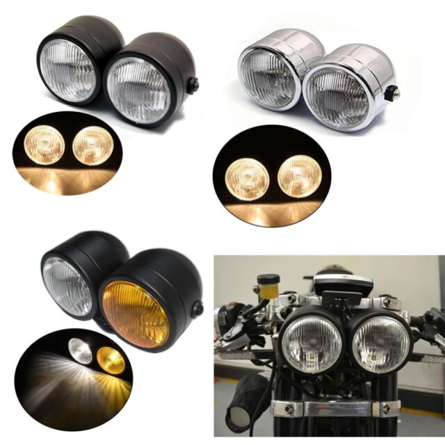 3-Color-Motorcycle-4-Streetfigher-Twin-Round-Headlight-Double-Dominator-Bulb-Head-Lamp-Universal-For-Cafe