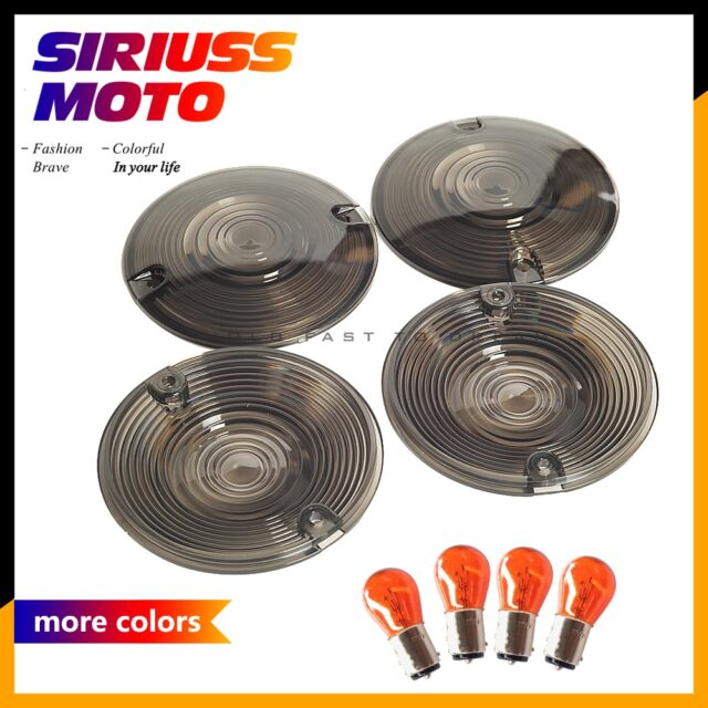 4-x-Smoke-Turn-Signal-Light-Lens-Cover-Bulb-For-Harley-Davidson-Touring-Electra-Glides-Road