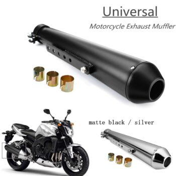 Motorcycle-Cafe-Racer-Exhaust-Pipe-with-Sliding-Bracket-Matte-Black-Silver-Universal