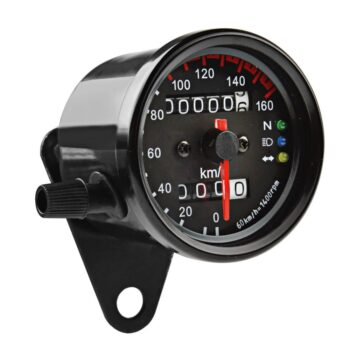 Motorcycle-Cafe-Racer-Speedometer-Odometer-Gauge-0-160km-h-Instrument-with-LED-Indicator