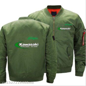 Motorcycle-for-Kawasaki-Jacket-mens-causual-pilot-jackets-Mens-Casual-ninja-Jacket-Ma-1-Flight-Thick
