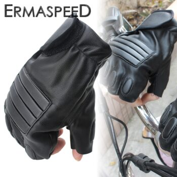 Pair-Motorcycle-Gloves-PU-Leather-Half-Finger-Fingerless-Retro-Summer-Spring-Riding-Hand-Protect-Racing-Glove