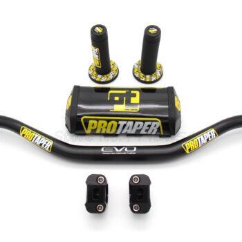 Motorcycle-Handlebar-1-1-8-Black-Pads-PRO-Taper-Handle-Grips-CNC-Handlebar-Clamp-Pit-Bike