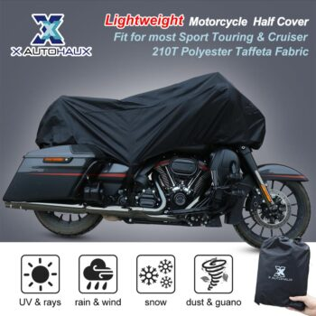 X-AUTOHAUX-M-L-XL-SIZE-Motorcycle-Half-Cover-210T-universal-Outdoor-Waterproof-Dustproof-Rain-Dust