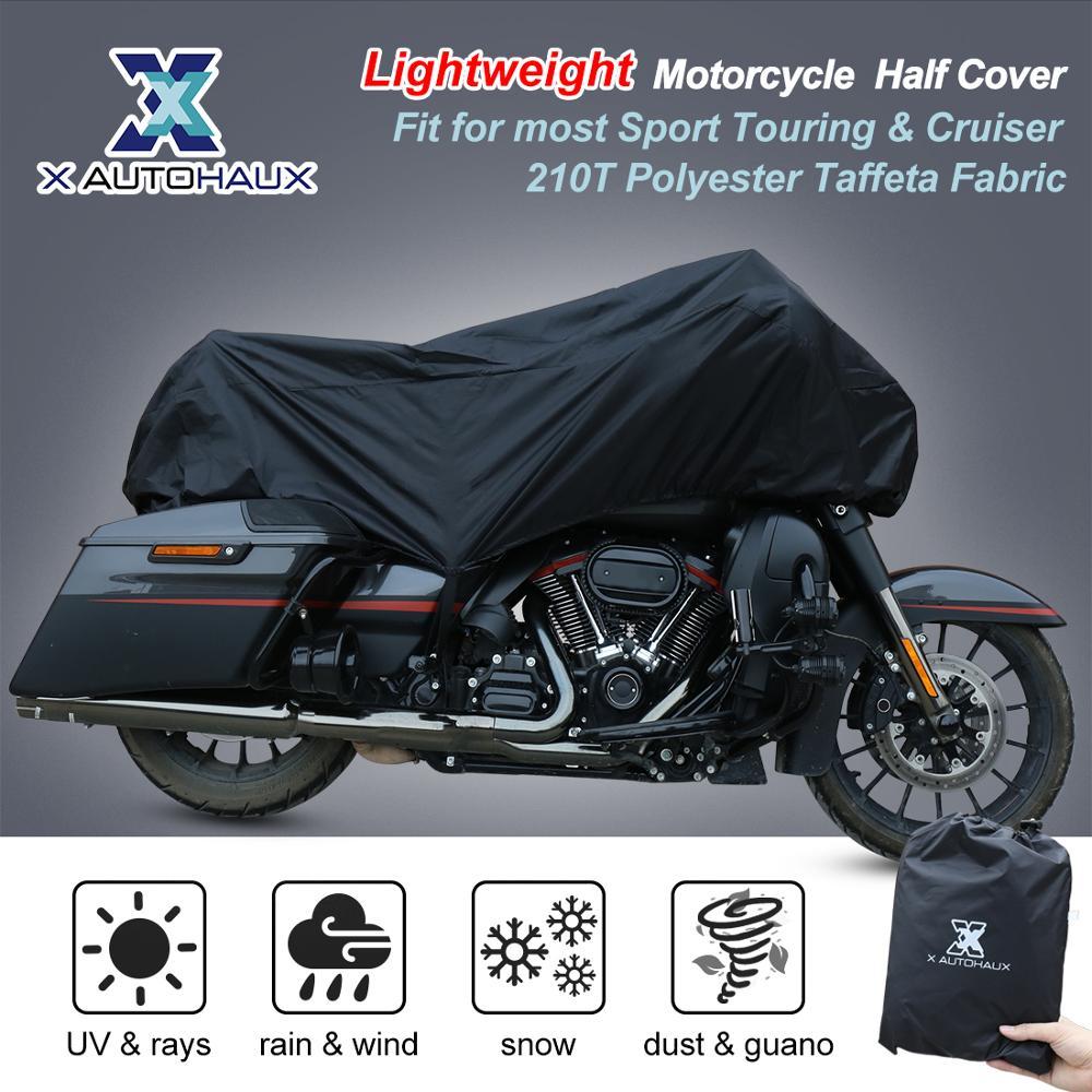 X-AUTOHAUX-M-L-XL-SIZE-Motorcycle-Half-Cover-210T-universal-Outdoor-Waterproof-Dustproof-Rain-Dust